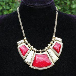 Boho Red & Goldtone Bib Statement Necklace